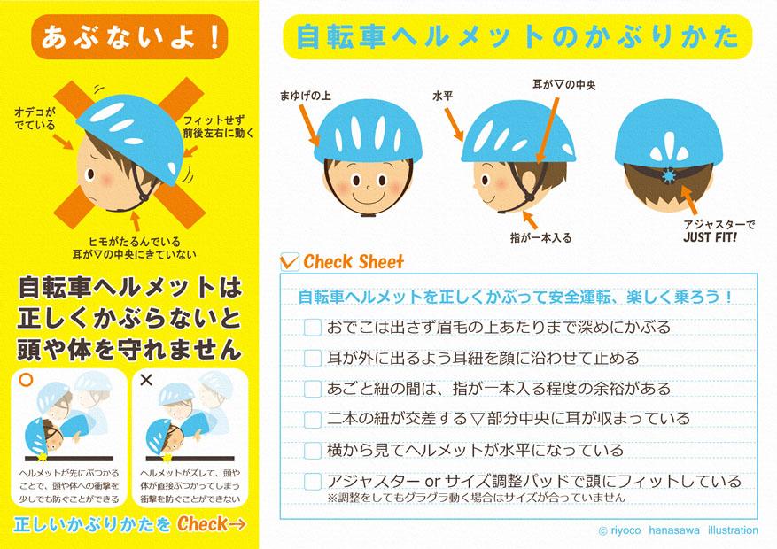 自転車ヘルメットのかぶりかた